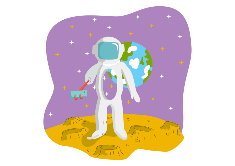 Spacesuit. Dummy astronaut in a spacesuit taking a selfie on the background of the Earth.