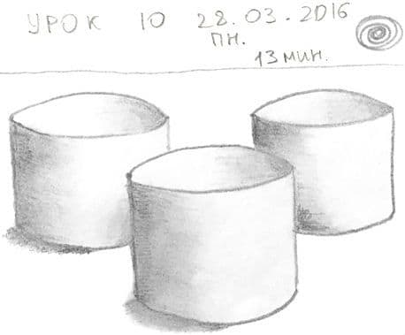 Как научиться рисовать карандашом урок 10. Цилиндры