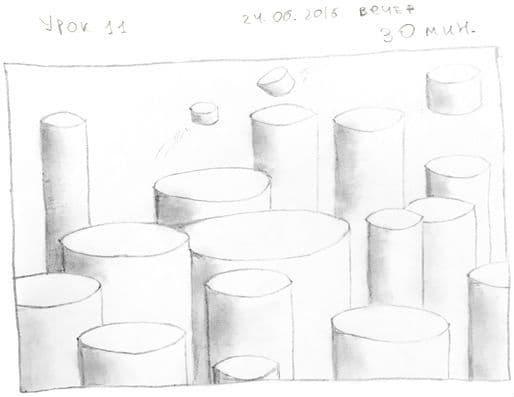 Как научиться рисовать карандашом урок 11. Много цилиндров