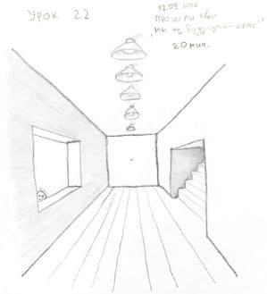 Как научиться рисовать карандашом урок 22. Комната в фронтальной перспективе карандашом