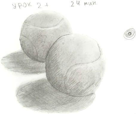 Как научиться рисовать карандашом урок 2_. Тенисные шарики карандашом