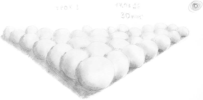 Как научиться рисовать карандашом урок 3. Ряд шаров карандашом, как для биллиарда