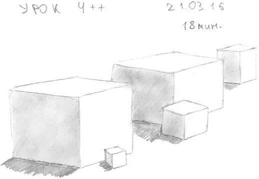 Как научиться рисовать карандашом урок 4__. Кубы в перспективе