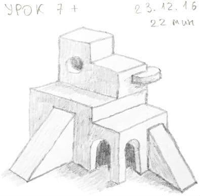 Как научиться рисовать карандашом урок 7_. Сложное здание
