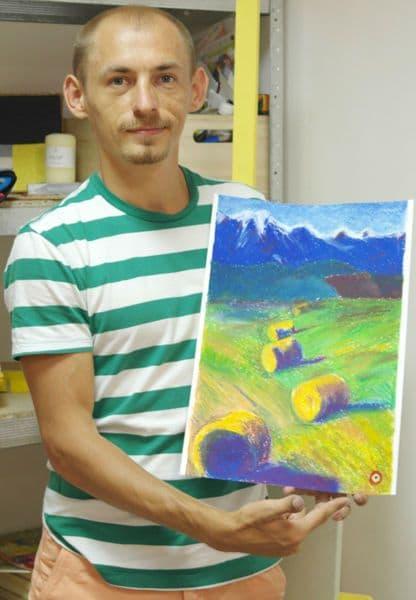 Пастель. Как научиться рисовать пастелью. Луг и горы