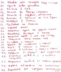 List of Vitaly's 100 wishes. Sheet 3
