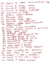List of Vitaly's 100 wishes. Sheet 4