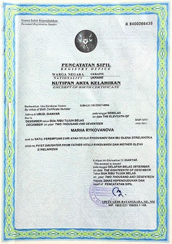 Birth Certificate in Indonesia